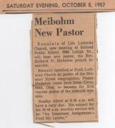 Meibohm new pastor